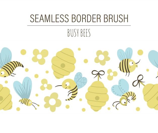 Vektor hand gezeichnete flache nahtlose musterbürste mit bienenstock, bienen, blumen. niedliche lustige kindische sich wiederholende raumgrenze auf honigproduktionsthema