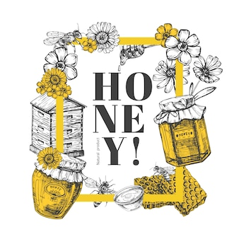 Vektor hand gezeichnete honig illustration