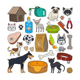 Vektor hand gezeichnete katzen und hunde