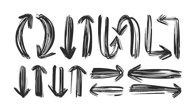 Vektor hand gezeichnete schwarze pfeile auf weiß.
