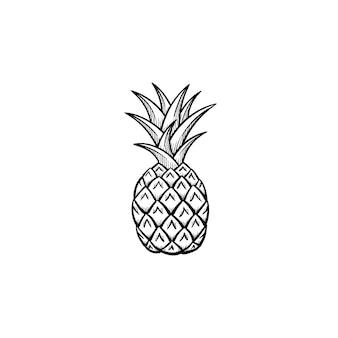 Vektor handgezeichnete ananas umriss doodle symbol. ananas-skizzenillustration für print, web, mobile und infografiken isoliert auf weißem hintergrund.
