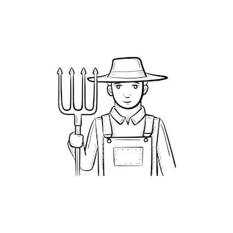 Vektor handgezeichnete bauer mit mistgabel umriss doodle-symbol. landwirt mit mistgabel-skizzenillustration für print, web, mobile und infografiken isoliert auf weißem hintergrund.