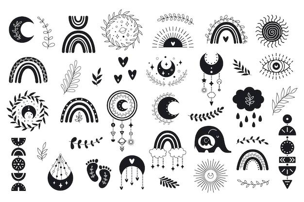 Vektor handgezeichnete boho cliparts für kinderzimmer dekoration mit niedlichen regenbögen
