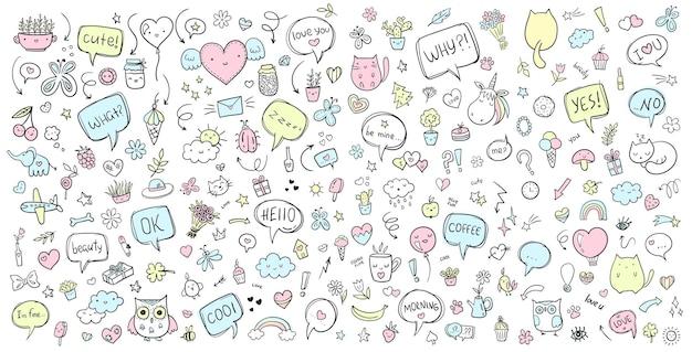 Vektor handgezeichnete doodle-set line art cartoon-set von objekten und symbolen