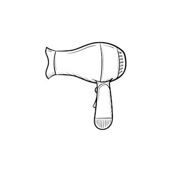 Vektor handgezeichnete haartrockner umriss doodle symbol. haartrockner skizzenillustration für print, web, mobile und infografiken isoliert auf weißem hintergrund.