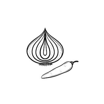Vektor handgezeichnete knoblauch und chili umriss doodle-symbol. lebensmittelskizzenillustration für print, web, mobile und infografiken isoliert auf weißem hintergrund.