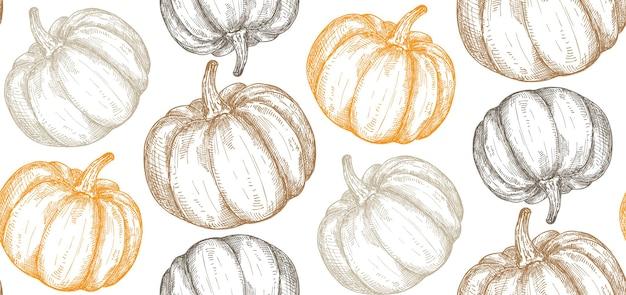 Vektor handgezeichnete kürbis nahtlose muster endlose gemüse halloween-hintergrund