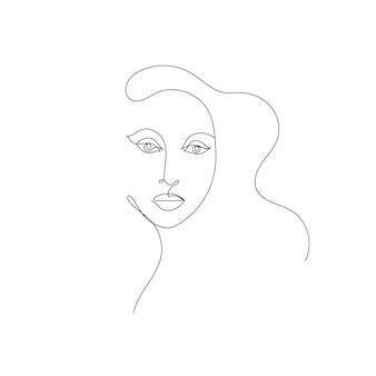 Vektor handgezeichnete lineare kunst frau gesicht kontinuierliche linie modekonzept weibliche schönheit