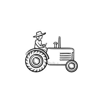 Vektor handgezeichnete mann fahrenden traktor umriss doodle symbol. mann fährt traktorskizze illustration für print, web, mobile und infografiken isoliert auf weißem hintergrund.