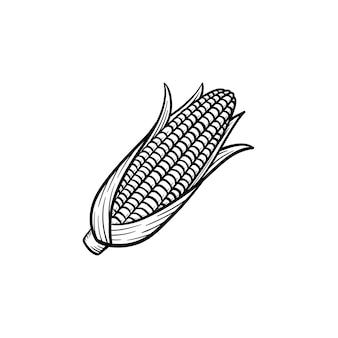 Vektor handgezeichnete popcorn maiskolben umriss doodle symbol. lebensmittelskizzenillustration für print, web, mobile und infografiken isoliert auf weißem hintergrund.