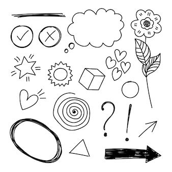 Vektor handgezeichnete set-elemente. blase, stern, pfeil, herz, liebe, blume, wirbel, ausrufezeichen und fragezeichen, häkchen und kreuz für konzeptdesign.