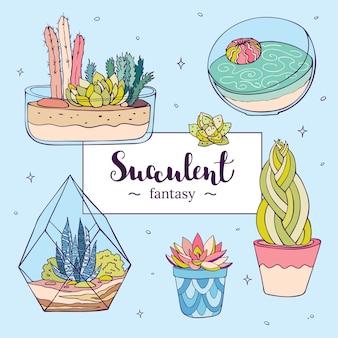 Vektor handgezeichnete succulents