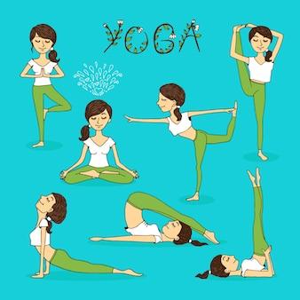 Vektor handgezeichnete yoga-posen mit einer schönen ruhigen jungen frau in verschiedenen ausgleichspositionen