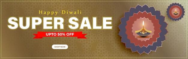 Vektor happy diwali festliche saison sale banner