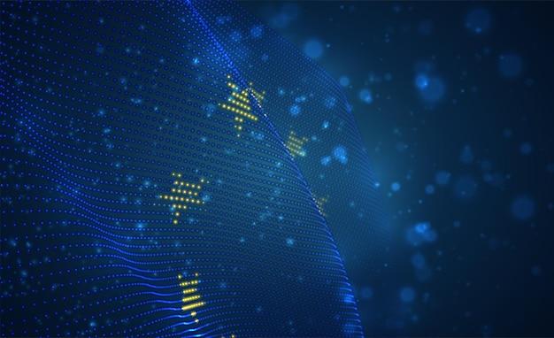Vektor hell leuchtende landesflagge von abstrakten punkten. europäische union