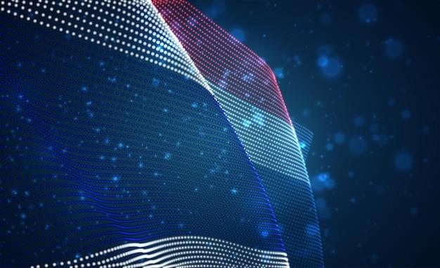 Vektor hell leuchtende landesflagge von abstrakten punkten. thailand