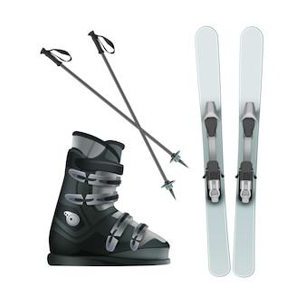 Vektor hellblaue ski mit stiefeln und schwarzen stöcken oben, seitenansicht lokalisiert auf weißem hintergrund
