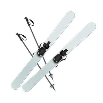 Vektor hellblaue skier und schwarze sticks draufsicht lokalisiert auf weißem hintergrund