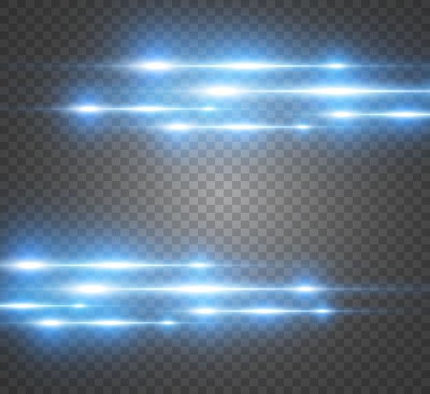 Vektor hellblauer spezialeffekt. leuchtende helle streifen auf einem transparenten hintergrund.