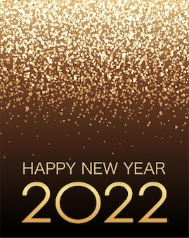 Vektor-hintergrund-illustration, die das jahr 2022 mit goldglitter-partikel-licht feiert