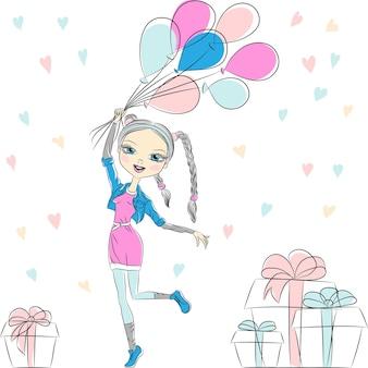 Vektor-hipster-mode-mädchen mit bunten luftballons