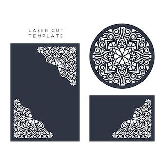 Vektor hochzeitskarte laser geschnittene vorlage