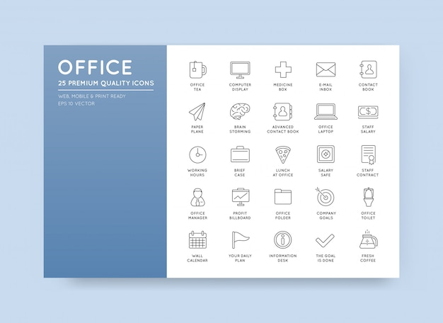 Vektor hohe qulaity office gliederung icons set