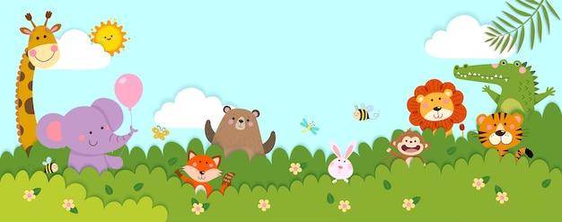 Vektor horizontale banner mit glücklichen wilden tieren, die hinter den büschen im scherenschnitt-stil stehen
