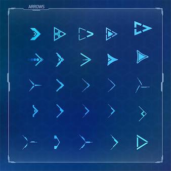 Vektor-hud-elemente für futuristische benutzeroberfläche festgelegt