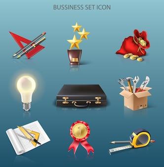 Vektor icon business set trophäe geld idee projekt