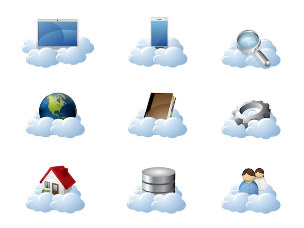 Vektor-icons für cloud computing