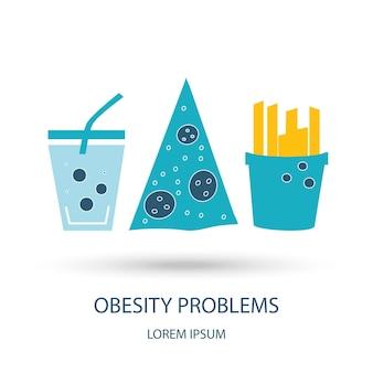 Vektor-icons im flachen design konzept von fettleibigkeit junk food und gesundheit mit elementen