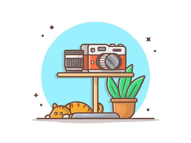 Vektor-ikonen-illustration der kamera-und linsen-auf dem tisch