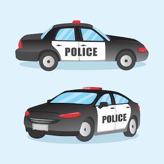 Vektor-ikonen-polizeiwagen in der flachen art lokalisiert