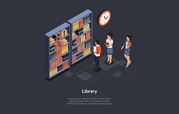 Vektor-illustration. 3d-komposition, isometrisches design im cartoon-stil. bibliothek ideen. gruppe von studenten, die stehen. männliche und weibliche charaktere. drei schulkinder im athenaeum. dunkler hintergrund, schriften
