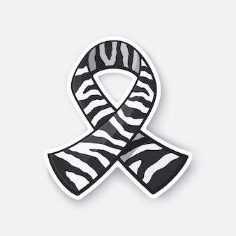 Vektor-illustration band mit zebradruck internationales symbol für karzinoid-krebs