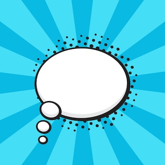 Vektor-illustration comic-sprechblase der gedanken ovale form im pop-art-stil