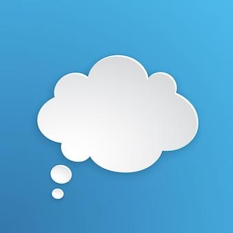 Vektor-illustration comic-sprechblase für gedanken in wolkenform in papierversion