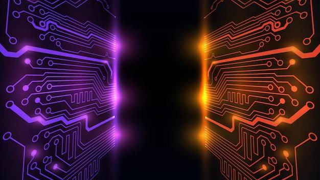 Vektor-illustration der abstrakten elektrischen platine, schaltung. abstrakte wissenschaft, futuristisch, web, netzwerkkonzept. eps 10