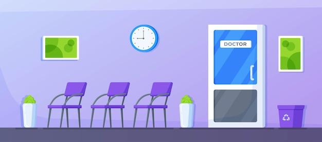 Vektor-illustration der arztpraxis. innenraum des korridors zur arztpraxis in der klinik. leeres medizinisches bürodesign. krankenhaus, das im gesundheitswesenkonzept arbeitet.
