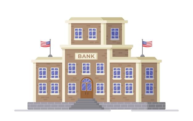 Vektor-illustration der bankfinanzierung großes bankgebäude auf weißem hintergrund