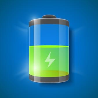 Vektor-illustration der batterie füllstandsanzeige.