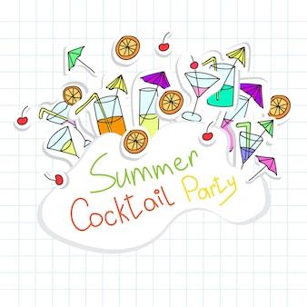 Vektor-illustration der cocktailparty-karte für design