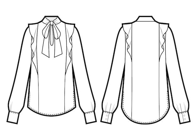 Vektor-illustration der damenbluse mit krawattenausschnitt