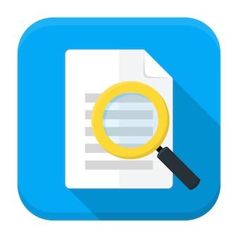 Vektor-illustration der dokumentensuche. flaches app-quadrat-symbol mit langem schatten.