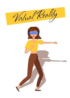 Vektor-illustration der frau in virtual-reality-kopfhörer mit bewegungssteuerung.vr-helm.cartoon realistische leute eingestellt flacher junger mann.