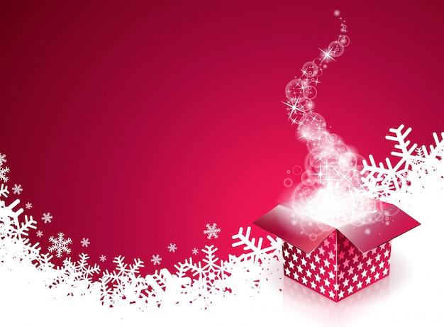 Vektor-illustration der frohen weihnachten mit magischer geschenkbox und schneeflocken auf rotem hintergrund.
