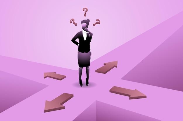 Vektor-illustration der geschäftsfrau, die verwirrt ist, um die richtung an der kreuzung zu wählen?