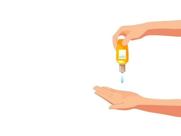 Vektor-illustration der händedesinfektion mit antiseptikum und schlamm-stil prävention des virus