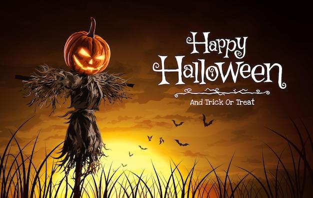 Vektor-illustration der halloween-kürbis-vogelscheuche auf einem weiten feld mit dem mond in einer beängstigenden nacht.